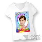 Фотография на женской футболке